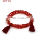 latest desgin women beautiful fashion bracelets tassels charms 18K gold matte bead bracelets