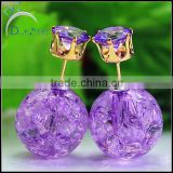 girl women thick glass luxury ball clear glass beads earings