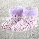 Winter high cotton at home indoor shoes warm thermal flower printing ladies cotton boots