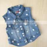 girls Vest baby sleeveless denim jacket for child spring dotted denim jacket                                                                         Quality Choice
