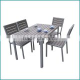 Garden furniture outdoor and restaurant dining table and chair furniture square wooden plastic dining set