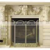 Latest natural fashionable black carved marble indoor fireplace