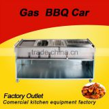 Luxury Versatile barbecue car gas lava stone grill with gas griddle with fryer and oden