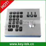 Vandal proof IP65 industrial military trackball with keypad