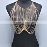 Women Body Chain Double Cross Pendant Beach Gold Chain Necklace Jewelry