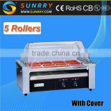 Electric hot dog roller machine with 5 rollers and cover automatic hot dog grill roller (SUNRRY SY-HD5)