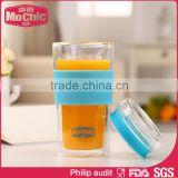 Mochic custom double wall glass water tumblers with silicone / reusable 300ml high borosilicate glass coffee mugs water tube