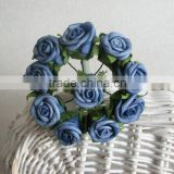 blue color mini rose artificial flowers bouquets for wedding home party decorations