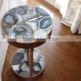 ZHAOJUN Agate slab natural gemstone Agate Stone/ Blue Agate Tile for different beautiful decoration table decor                                                                         Quality Choice