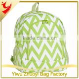 Light Green and White 600D Oxford Material Chevron Printing Backpack School Bags for Kids