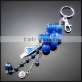 Fashion key ring little grape design with beaded charms metal keychain