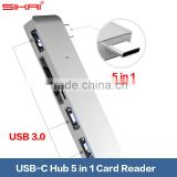 Sikai Promotion USB 3.0 High Speed 5 port USB Type-C Hub For New MacBook Chrome Book Pixel 2 Card Reader Charging Data Hub