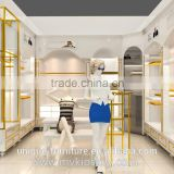 High quality display wall shelf with modern clothes shop interior design