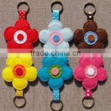 hot 2017 best selling laser cut new product decorative custom handmade fabric felt cheap keychain