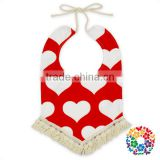 Love Heart Design Valentine's Day Baby Bibs Infants Saliva Mat Wholesale Boutique Cheap Toddlers Plain organic Cotton Kids Bibs