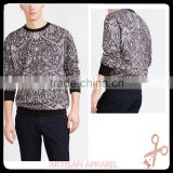 fashionable Floral jacquard sweatshirt with Round neck Black elastic neck and cuffs custom mens full printing sweatshirt
