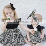 Wholesale lace fultter sleeve baby girl pom pom romper leopard print childrens dresses
