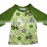 wholesale kids summer raglan boy spring clothes tractor pattern children boutique from China