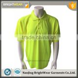 Hi vis yellow basic safety short sleeve rib collar high quality day use only protective polo shirt