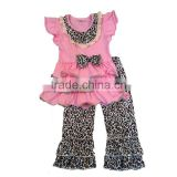 children clothing 2017 pink color flutter sleeve ruffle dress match leopard print pants outfits baby toddler clothing