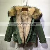 Natural Fox Fur Parka For Children Winter Wear,Baby Alpaca Fox Fur COAT,Korean Style Fur Coat