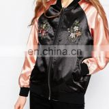 New design Women's Bomer Jacket Baseball Jacket flight Jacket with Folwer Embroidery