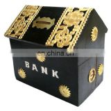 WOODEN PIGGY BANK HUT SHAPE BLACK