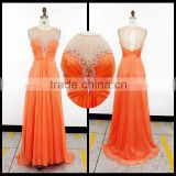 Bright Orange Tulle Sweetheart Chiffon Evening Dresses / Robe De Soiree