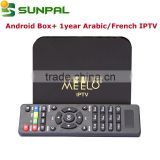 Android tv box Meelo+ iptv new model with Arabic French iptv apk account one year for sale