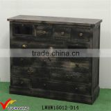 Many Drawers Storage Wooden Antique Black Cabinet