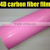 Pink 4D Carbon Fiber Vinyl Car Wrap Sticker Film for Decoration and Protection / Size: 1.52 meter