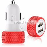 New fashion Tire mold 12v 4.8a Mini 2 port usb Car Charger with logo from Shenzhen Factory