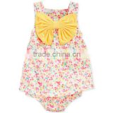 Wholesale Baby Girls Sweet Sleeveless Big Bow Floral Printed Dress Romper                                                                         Quality Choice