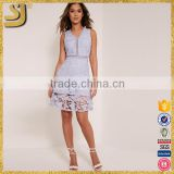 Best selling women summer casual blue crochet v-neck lace midi dress                                                                         Quality Choice