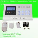DC12V 99 wireless and 8 wired zones burglar alarm systerm with panel keypad