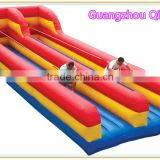 hot sale sport game inflatable bungee run with trampoline, inflatable bungee jump for kids and adults