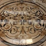 china new design floor tiles yellow and golden water-jet medallion flower marble floor design                                                                         Quality Choice