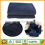Super Cozy Luxury Navy Blue Microfiber Plush Coral Fleece Knitted Thick Throw Blanket