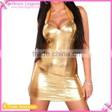 Wholesale Sexy Club Wear Golden Catsuit Latex