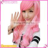 Hot Sale Ombre Pink Synthetic Long Curly Cosplay Wigs Hair Extension