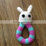 Crochet rattle Easter Bunny kids Baby shower girl favors Baby teething toy