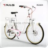 "26"" cute lady city bike aluminum frame electric bicycle with lithium battery BS2604"