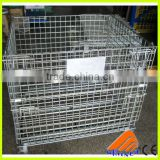 Stackable steel wire mesh pallet cage for small parts storage