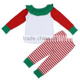 2016 kaiyo wholesale kids christmas clothing bib T-shirt and stripe pants Christmas costume outfits