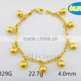 Olivia Jewelry 2016 New Promotion Stainless Steel Gold Link Chain Bracelet With 9 Pcs Ball Charms