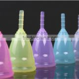 Reusable 100% Medical Silicone Ladies Menstrual Cup for wholesales-Small or Big Size in Pink,Purple,White,Transparent