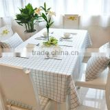 high quality Fresh Garden wind rectangle blue white check printed table cloth