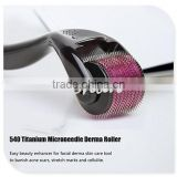 0.5-3.0mm 540 Microneedle Derma Roller Micro Needles Skin Therapy Health Han Beauty Massage Tool for Face Skin (0.25mm) (Purple)