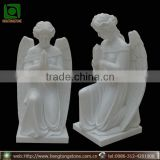 White Marble Kneeling Pray Angel Statue Headstone