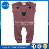 (OEM Service) 2017 Britain Summer Baby Bear Clothes Embroidered Brown Color European Style Baby Garment Ropa Infantil China